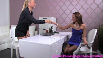 FemaleAgent. Blonde sexy boss teaches agent the art of seduction