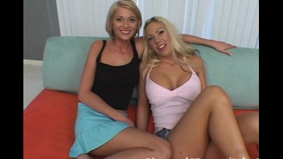 Sexy blonds are having sex on the couch