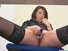 Hojo toying her pussy during an office meeting hairy cunt