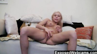 Cute little blonde shows everything on webcam