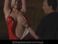 Innocent hot blonde slave girl intensely whipped in bdsm show