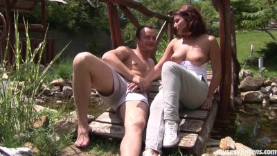 Chesty teen Bellina gets fucked outdoors