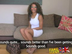 FakeAgentUK Fake interview sees sexy ebony chick get cum splattered