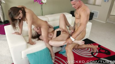 Sexy threesome with milf and young couple