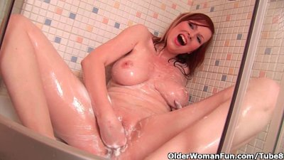 The bathroom is the perfect place for mom to masturbate