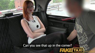 FakeTaxi Elegant ginger women fucks driver in her black lace thong
