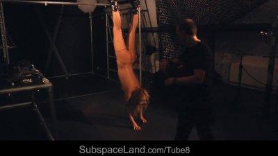 Kinky suspended bdsm fantasy for a blonde slave girl