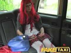 FakeTaxi Halloween customer gets a full taxi facial