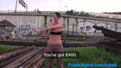 PublicAgent Big boob brunette fucked outside in public