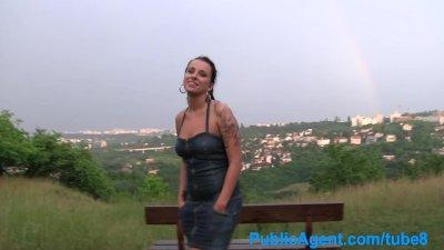 Pov Public Cumshot video: PublicAgent Hardcore sex outside in a thunderstorm
