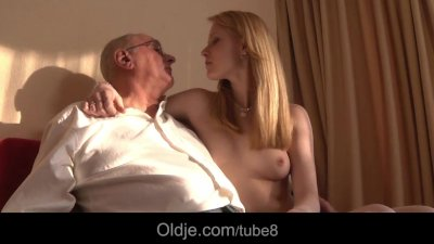 Young pussy licked and fucked by an old grandpa