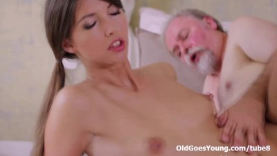 Young Marisa was so horny and wanted this old dude's cock in her pussy!