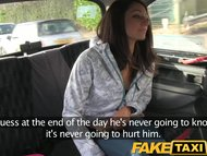 FakeTaxi Brunette has taxi backseat threesome