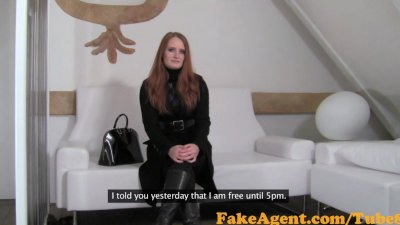 FakeAgent Fiery Red head babe takes first time Creampie in Office