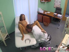 Love Creampie Doctor s patient dripping from the cum shot inside her