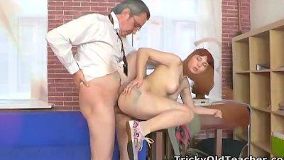 Tricky Old Teacher - Elena struggles for her grades in her teachers class