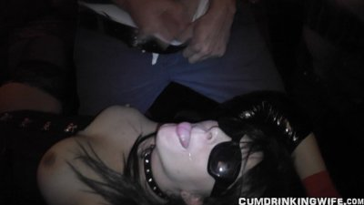 Naughty wife used by many guys at Adult Theater
