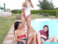 Euro babe squirts and pees on two hotties