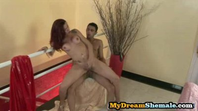 Patricia Sabatiny - Redhead Shemale Riding An Uncut Cock