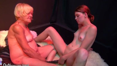 OldNanny old and young woman masturbating and sucking dick