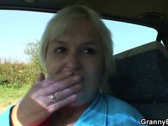 70 years old granny gets banged roadside