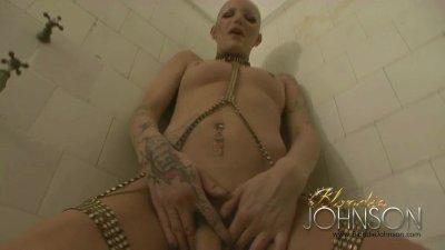 Blondie Johnson jerking off in the old bathroom