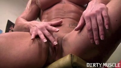 Sexy Buff Blonde Works Out Her Big Clit in the Gym