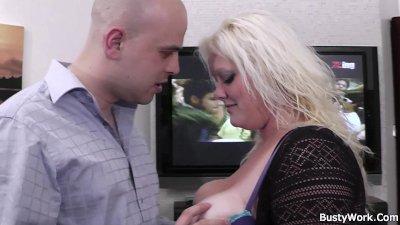 He bangs chubby blonde at work