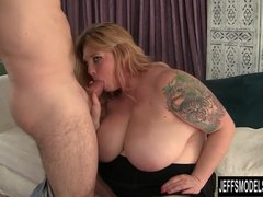 Big titted blonde gets her pussy licked so good  She sucks his super hard c