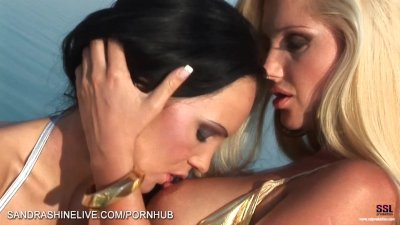 Bikini girlfriends making out on the yacht fingering pussies