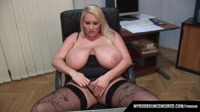 Huge natural tits Laura M secretary masturbates in her office