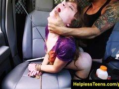 HelplessTeens com Faye ends in van for bdsm and rough bdsm outdoor sex