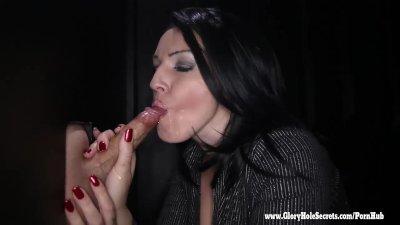 Gloryhole Secrets Milf Kitty gets so horny from sucking cock