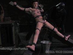 Petite Punk BDSM Slut Lit Up Like a Xmas Tree with Electric Torture