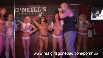 sexy girls strip naked on stage for a red hot wet t-shirt contest