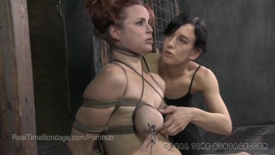 Busty Bella Rossi Bound in The Splits and Cumming