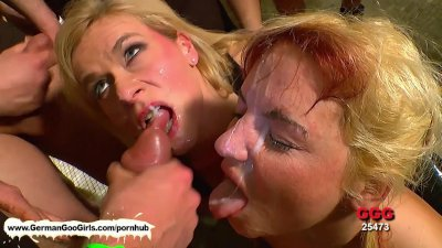 Cock and jizz fest plus girl to girl tongue action