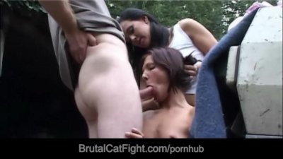 Hussy pussy causes a catfight and gets fucked