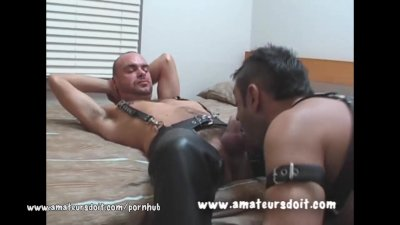 Sex Pigs Lewis and Billy are into wearing leather gear and no rules sex