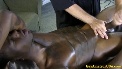 Straight black guys handjob at massage