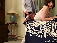 Cute crossdresser Schoolgirl gets hard spanking over the desk for cheating