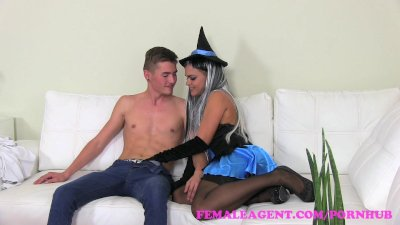 FemaleAgent Stud gets tricked and sexy witch agent gets treat for Halloween