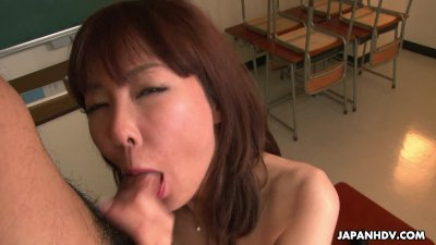 Delicious Japanese chick fucks with three guys in the classroom