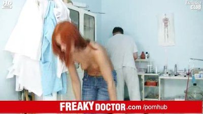 Aged doctor spreads pussy of a tiny redhead Electra Angels
