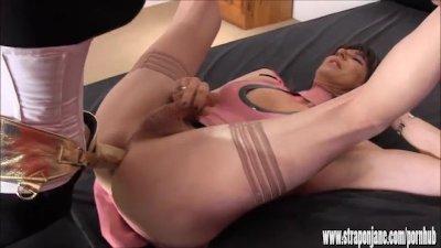 Crossdresser slut wanks big cock as hot femdom Strapon Jane fucks her ass
