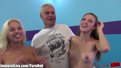 1 pornstar sucking my cock while I eat her friend!