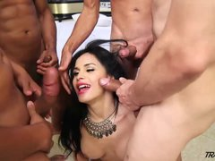 TS Star Bruna Butterfly First Gangbang  Part 1