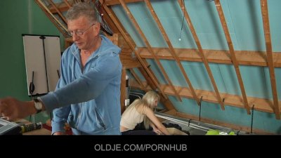 Shy oldman seduced and fucked by bold hussy blonde