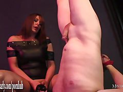 Mistress rams slaves ass with big toy then makes him swallow his own cum