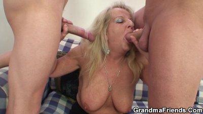 Partying guys nail blonde grandmother